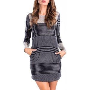 Striped Colorblock Long Sleeve Knit Tunic Dress